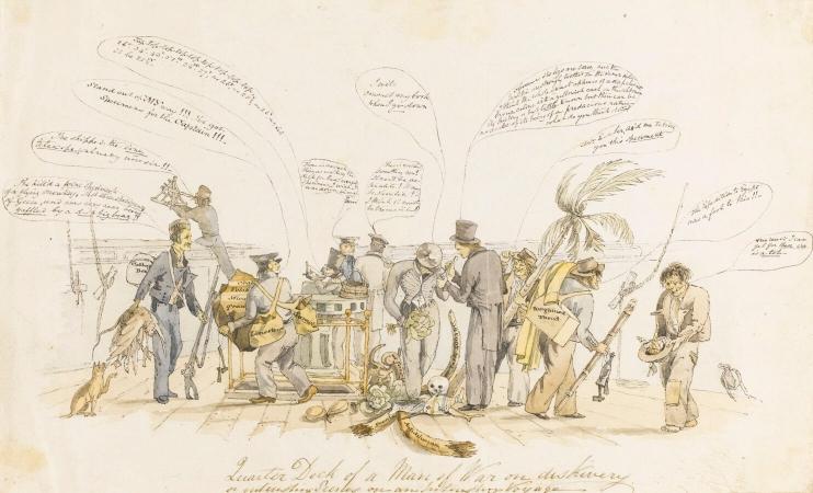 Caricature d'une réunion de bord lors d'un des voyage de Darwin (ce dernier au centre)